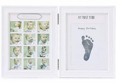 """Baby Handprint and Footprint Photo Frame kit White- """"My First Year"""" Picture with"""