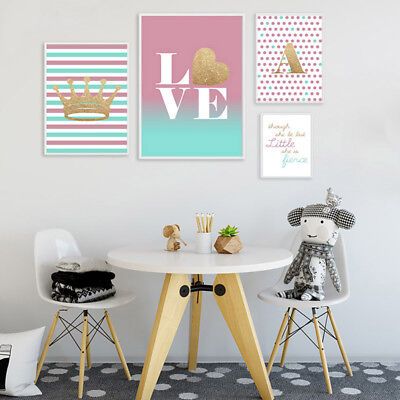 Letter Custom Poster Gold Crown Love Nursery Canvas Wall Art Print Home Decor
