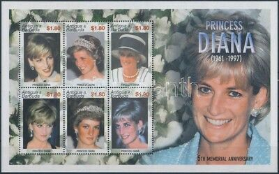 Antigua & Barbuda stamp Princess Diana mini sheet MNH 2002 Mi 3749-3754 WS248665