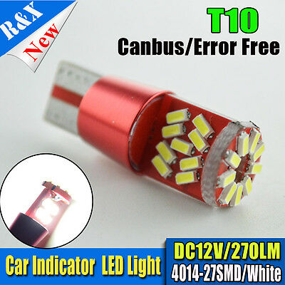 2PCS CANBUS T10 Wedge 27SMD Parker Number Plate LED Bulbs W5W 194 168 131 WHITE