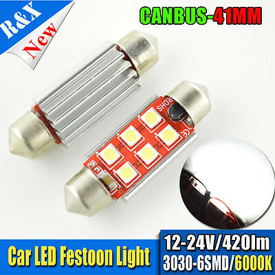 2X 41Mm 6 Led 3030Smd Ac12/24V Canbus C5W Festoon Car Interior Dome Light Bulbs