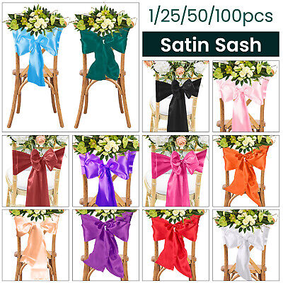 """7"""" X 108"""" Satin Chair Sashes Fuller Bow Ribbon for Party Venue Birthday Wedding"""