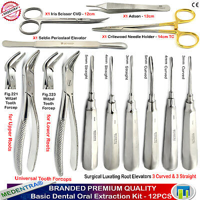 MEDENTRA® Oral Surgery Kit Luxation Elevators Universal Tooth Forceps Tissue X12