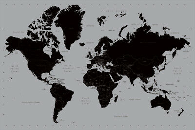 Map Of The World Contemporary Silver Ink Map 91.5 X 61Cm Maxi Poster