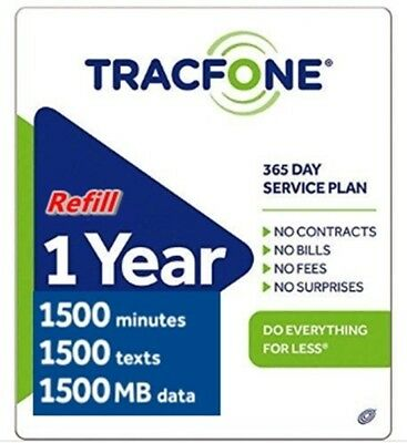 Tracfone 1 Year of Service and 1500 Minutes  Smartphones & BYOP Only