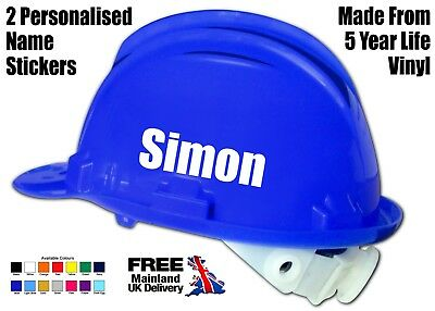 2 x PERSONALISED HARD HAT SAFETY HELMET NAME STICKERS VINYL DECALS FOR BUILDERS
