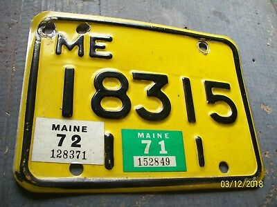 Very Good, Original, 1971 - 72, Maine  Motorcycle License Plate