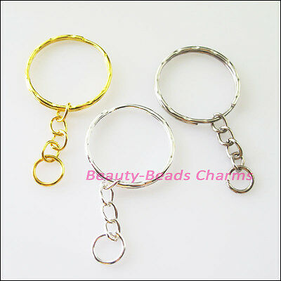 10Pcs Connectors Split Key Rings 25mm With Chains Gold Dull Silver Bronze Plated