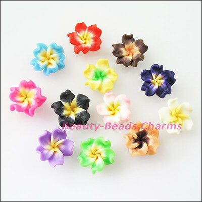 6Pcs Mixed Handmade Polymer Fimo Clay Flower Spacer Beads Charms 15mm