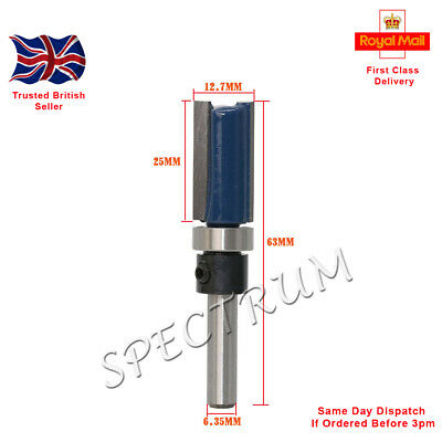 "Mortise / Template Flush Trim Router Bit. 1/4"" Shank.  25mm X 12.7mm X 63mm"