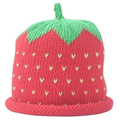 MERRY BERRIES Red Strawberry Hand Knitted 100% Cotton Baby Hat | BNWT NEW