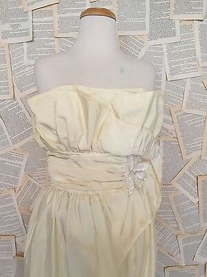 Vintage strapless bridal off white ivory wedding gown dress sequin beaded