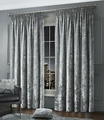 Crushed Velvet Plush Glam Curtain Pair Tape Top Pencil Pleat Lined Silver