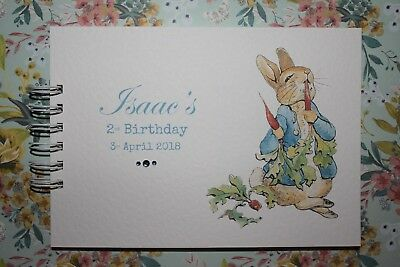 Handmade Personalised Peter Rabbit 1st 2nd Birthday Guest Memory Book Keepsake