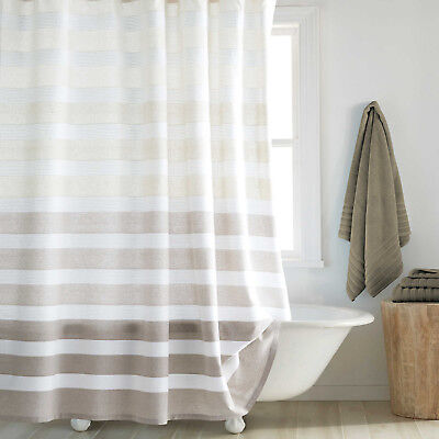 Dkny Highline Stripe White Neutral Taupe Shower Curtain New