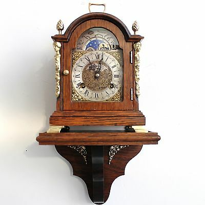 HERMLE CLOCK Mantel Wall Germany TOP Set/Console Mid Century Moonphase Chime Oak