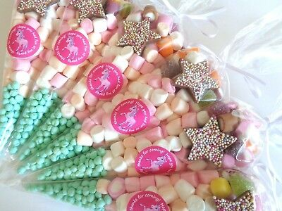 15 x Unicorn Theme Pre Filled Sweet Cones - Party Bag Fillers