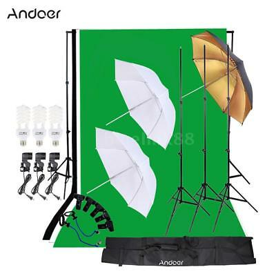 Photo Video Studio Lighting Portrait Photography Backdrop Umbrella Stand Kit Set