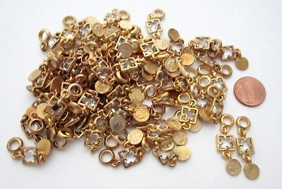 60+ pieces gold tone jewel and coin 35x9mm charms bulk lot BL328