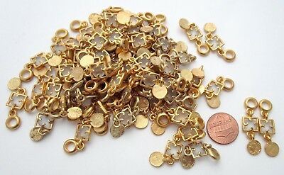 60+ pieces gold tone frosted jewel and coin 35x9mm charms bulk lot BL329