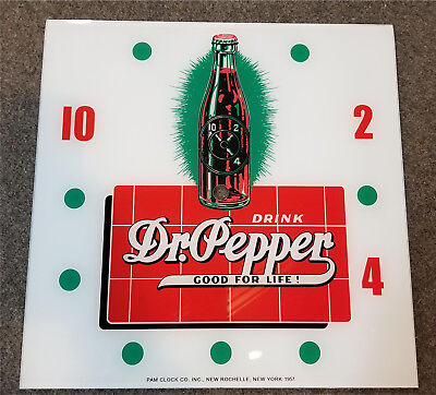 "*NEW* 15"" DR PEPPER BOTTLE HOT ROD GLASS replacement clock FACE FOR PAM"