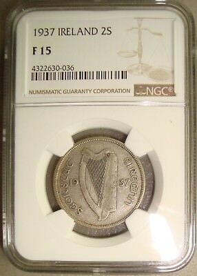 1937 Ireland Silver Florin / Two Shillings NGC F15