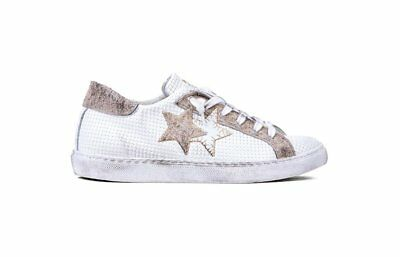 2 STAR LOW 2STAR Italy Pelle BIANCO TAUPE 2SU 1830 Fashion SNEAKER LEATHER  Uomo 40701a06037