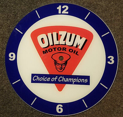 "*NEW* 14.25"" RD OILZUM BLUE EARLY STYLE GLASS FACE PAM CLOCK gas oil"
