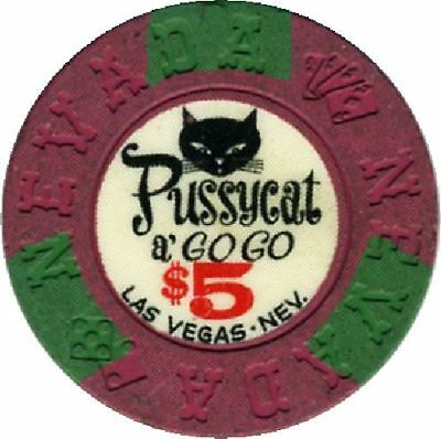 Hard To Find $5 Casino Chip PUSSYCAT A GO GO-Las Vegas, Nv.-N2025-1964 Chip