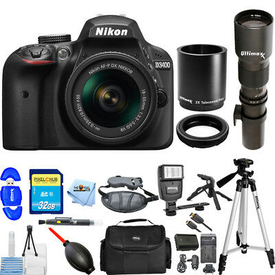 Nikon D3400 DSLR Camera with 18-55mm & 500/1000mm Lenses PRO BUNDLE BRAND NEW
