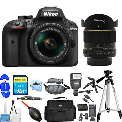 Nikon D3400 DSLR Camera with 18-55mm & 6.5mm Fisheye Lens PRO BUNDLE BRAND NEW