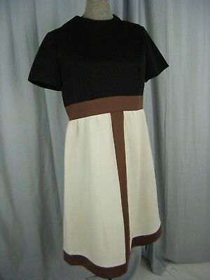 NEUSTETERS/ ALLISION AYRES Vtg 60s Black Cream Brown Mod Knit Dress-Bust 37/XS-S