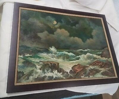 Vintage ~Coast of Maine~ Oil/Canvas/ by Fred Thompson ~Nice Colors~ WE SHIP~