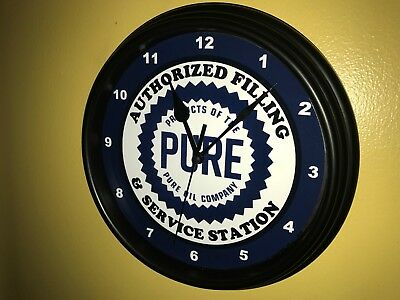 Pure Oil Gas Service Station Mechanic Garage Man Cave Wall Clock Sign