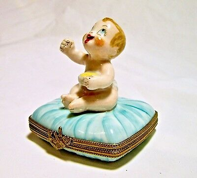 Signed Vintage Limoges France French Baby Boy Trinket Box Peint Main Limoge Bear