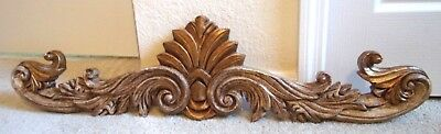 Vintage Carved French Hanging Wall Hanging Pediment Wood Tone Color