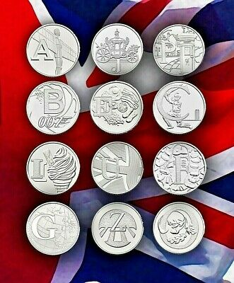 Rare 2018 Alphabet 10p Pence A-Z British Coins - Royal Mint NHS Angel Bond Zebra
