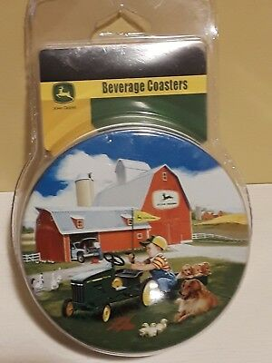 John Deere 6 Pack Tin Beverage Coasters Zolan fine Arts JD Licensed NEW