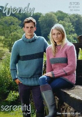 KNITTING PATTERN Mens Ladies Easy Knit Striped Jumpers Super Chunky 5705 Wendy
