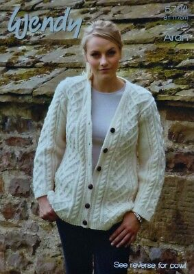 KNITTING PATTERN Ladies V-Neck Cable Cardigan & Lace Cowl Aran 5704 Wendy