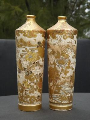 "Pair Satsuma Gilt & Enamel Decorated Porcelain Cylindrical Bud Vases 7"" Tall"