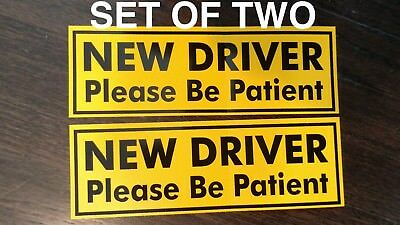 NEW DRIVER Please Be Patient Bumper Sticker - Student Driver 2 Pack 3x9in YELLOW