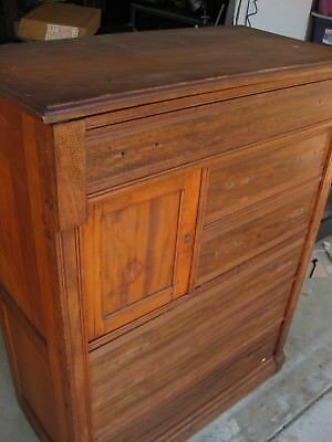 Eastlake Antique Walnut Side Lock Chest of Drawers Tall Highboy Dresser 1880s