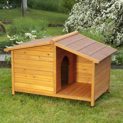 Wooden Dog Kennel Pet House Winter Weather Proof Outdoor Shelter Garden Patio