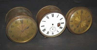 3 x Antique French Drum Clock Movements