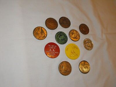Vintage AA Alcoholics Anonymous Recovery Sobriety Coin Token Medallion Chip Lot