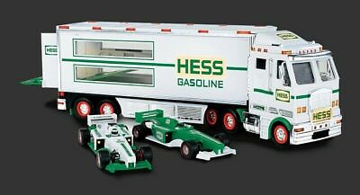 2003 Hess Transporter Truck With Two Race Cars, New