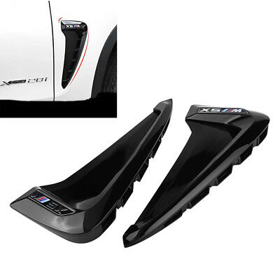 1 Pair Car Front Fender Side Air Vent Cover Trim for BMW X5 F15 2014-2017 Black