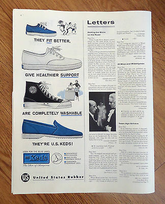 1958 U S Keds Shoes Ad Fit Better Healthier Support Washable