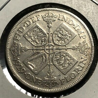 Great Britain 1929 Two Shillings  Silver Florin High Grade Coin